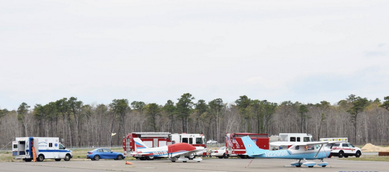 The emergency response early this afternoon at the Eagles Nest Airport in Eagleswood. (Photo: JSHN contributor Roman Isaryk)