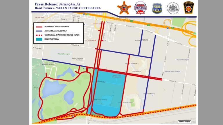 Official secured perimeter for the DNC (image via US Secret Service)