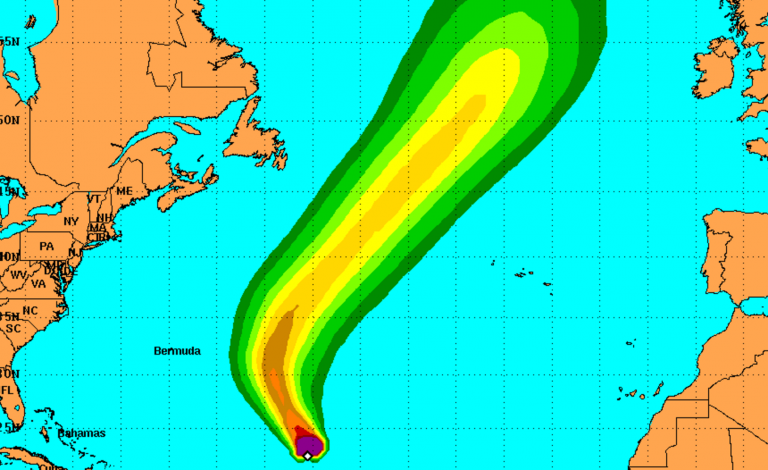 An image depicting the potential of tropical storm force winds. (Image: NHC)
