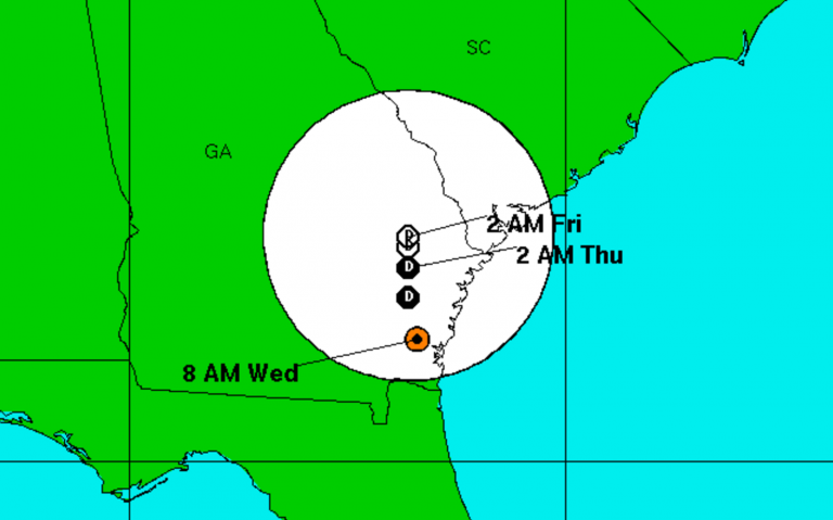 Tropical Storm Julia's expected track as of 8 a.m Wednesday. (Image: National Hurricane Center)