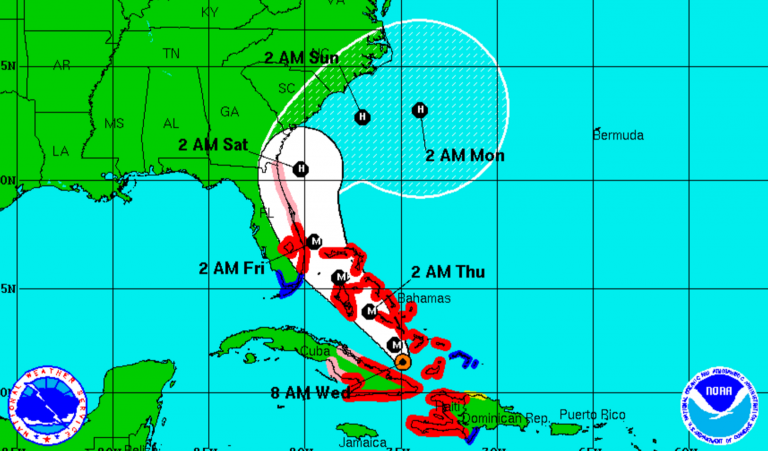 The 8 a.m. Matthew forecast track from the National Hurricane Center.