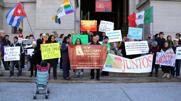 Protesters gather at City Hall to support  undocumented immigrants in November of 2015. (Emma Lee/WHYY)