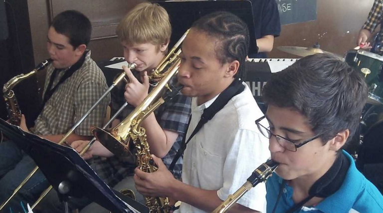 Band students jam at Settlement Music School's Germantown branch. In four years