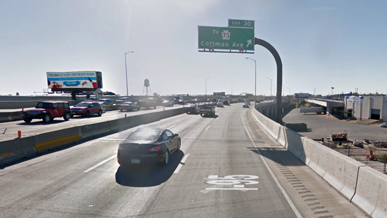 Exit 30 to Cottman Avenue on I-95 in Philadelphia (Image via Google Maps)