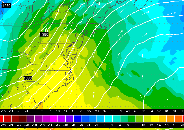 A screenshot from the 0z EURO model run showing warm air streaming into the region Saturday.