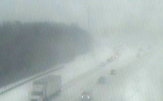 Garden State Parkway at the Asbury Toll Plaza (milepost 104) around 2:10 p.m. Tuesday. (Image: @GSParkway via Twitter)