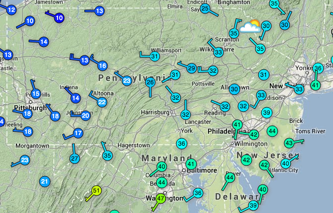 Regional temperatures at 9:45 a.m. Monday. An arctic front will sweep through today, plunging temperatures.