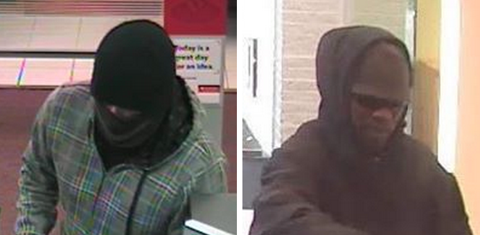 The Toms River Police Department has released an images of the Friday bank robbery suspects: Santander Bank (left) and TD Bank (right).