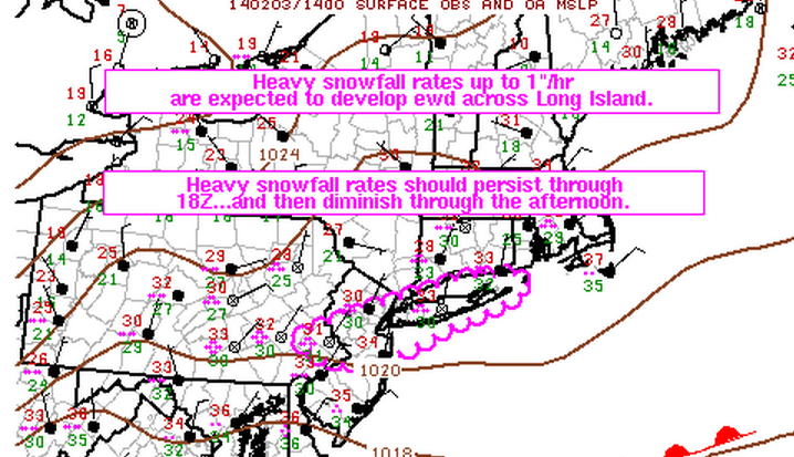 A mesoscale discussion issued by the National Weather Service Storm Prediction Center Monday morning indicates that heavy snowfall will continue in Central Jersey through the early afternoon hours.