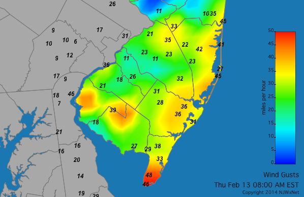 8 a.m. wind gusts. (Image: Rutgers University's NJ Weather and Climate Network)