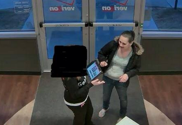 A surveillance image of the woman, right, police suspect stole merchandise from a Verizon store in Brick on March 1. Image courtesy of the Brick Township Police Department.