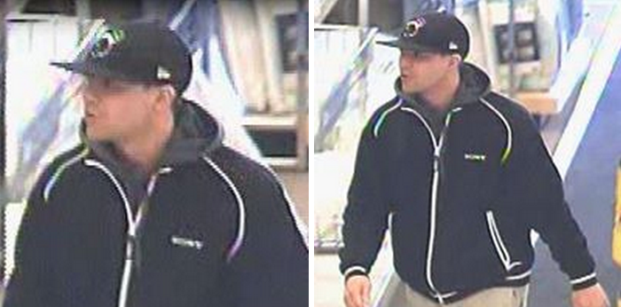 Surveillance images of the man police say was involved in a robbery Thursday morning at the Ocean County Mall. (Images courtesy of the Toms River Police Department)