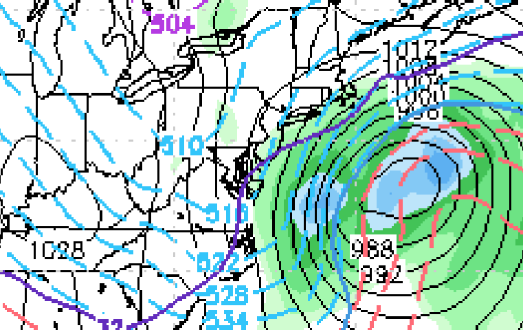 Monday's 12z NAM model  indicating a major storm system developing offshore and pulling away to the northeast early Wednesday morning. (Image: Stormvistawxmodels.com via NY Metro Weather)