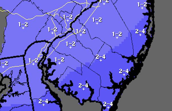 The National Weather Service's snowfall forecast.