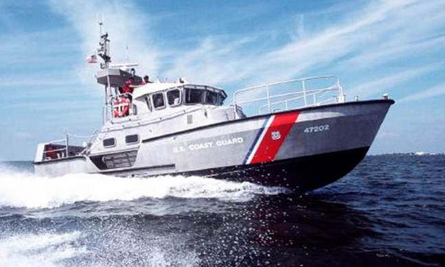 A 47-foot Motor Life Boat used in the search for Renee Lopez, a commercial fisherman apparently fell overboard approximately 45 miles east of the Manasquan Inlet late Wednesday morning. (Image: Coast Guard)