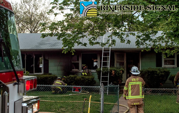 Firefighters on the scene of the Monday evening fatal fire in South Toms River. (Image courtesy of RiversideSignal.com)