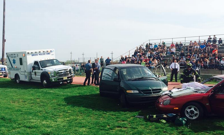 Authorities staged a mock car crash and response at Brick Township High School Tuesday morning as part of