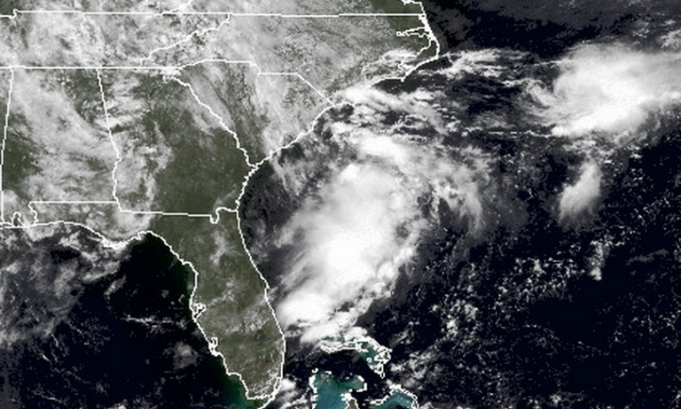 NOAA satellite imagery of the area of disorganized showers and thunderstorms off the coast of South Carolina Saturday morning.