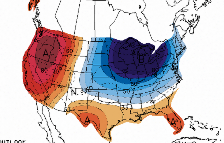 A National Weather Service Climate Prediction Center graphic showing a moderate chance of below normal temperatures in New Jersey between July 15 and July 19.