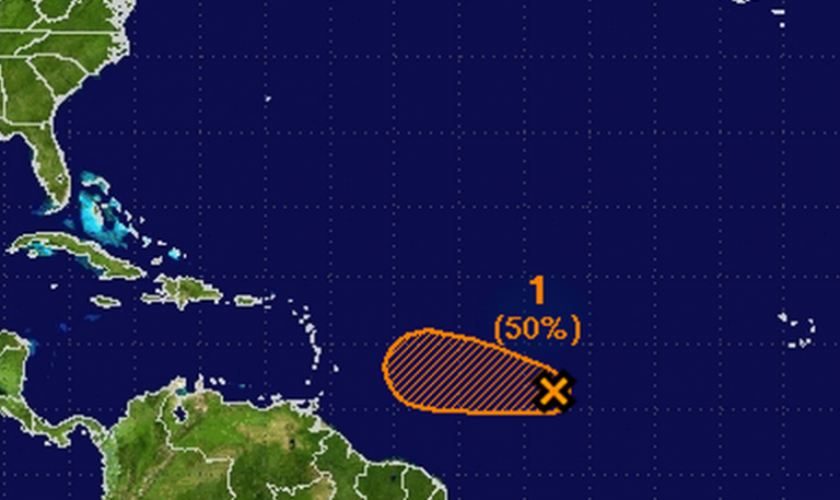 There's a 50 percent that a tropical disturbance located between the Cape Verde Islands and the Lesser Antilles will form within 48 hours, according to a Special Tropical Weather Outlook issued by the National Hurricane Center late Monday morning.