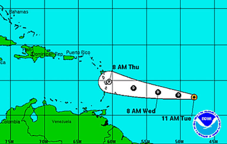 A National Hurricane Center tracking map shows the expected path of the Tropical Depression.
