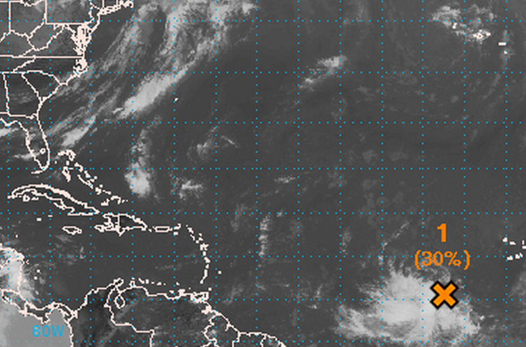 A disturbance in the Eastern Atlantic has a 30% chance of becoming a tropical system in 48 hours and 70% chance in five days, according to the National Hurricane Center.