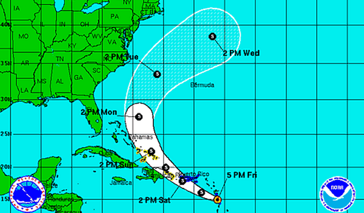 The National Hurricane Center forecast for Tropical Storm Bertha issued 5 p.m. Friday.