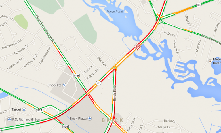 Traffic conditions at 4:30 p.m. Tuesday near a crash scene at Route 70 and Brick Boulevard in Brick. (Image: Google Maps)