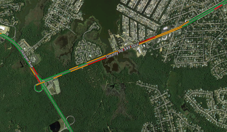 A Google Map image depicting heavy traffic near the crash scene at 4:05 p.m. Saturday.
