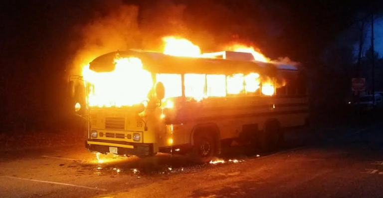 School bus occupants escaped injury after a fire broke out in the vehicle Wednesday morning, police said. (Photo courtesy of the Toms River Police Department)