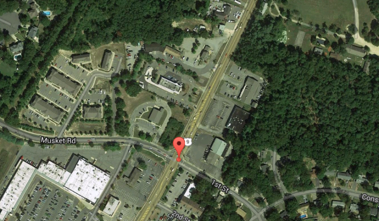 The approximate location of the incident involving the accidental discharge of a police officer's weapon Friday morning outside a 7-11 store at 403 Main Street in Lacey. (Image: Google Maps)
