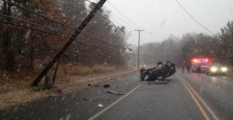 A 17-year-old Toms River resident suffered minor injuries after he crashed on a Toms River roadway just as snow started falling Wednesday afternoon, police said. (Photo courtesy of the Toms River Police Department)
