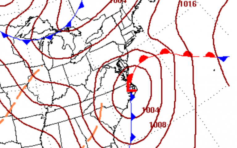The current surface map forecast for 7 a.m. Saturday, indicating a low pressure system near the Outer Banks in North Carolina. (Image: National Weather Service)