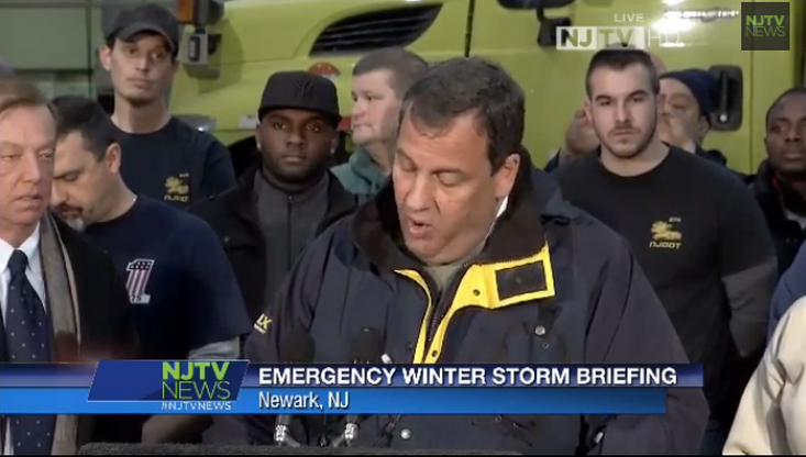 Gov. Chris Christie speaking during an early Monday afternoon press conference in Newark, NJ. (Screencap courtesy of Debbie Galant via NJTV)