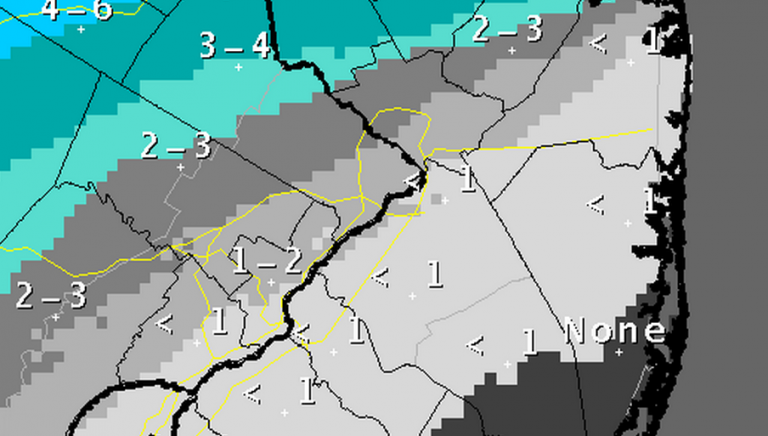 Snowfall accumulation map issued by the National Weather Service in Mount Holly, NJ Saturday afternoon.