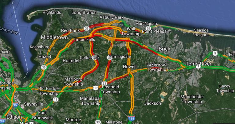 Google Traffic Map at 5:30 p.m. Monday.