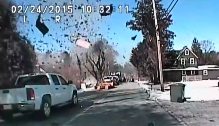 A screen capture from a police cruiser's dashcam of the explosion in Stafford Tuesday morning. (Image: Stafford Township Police Department)