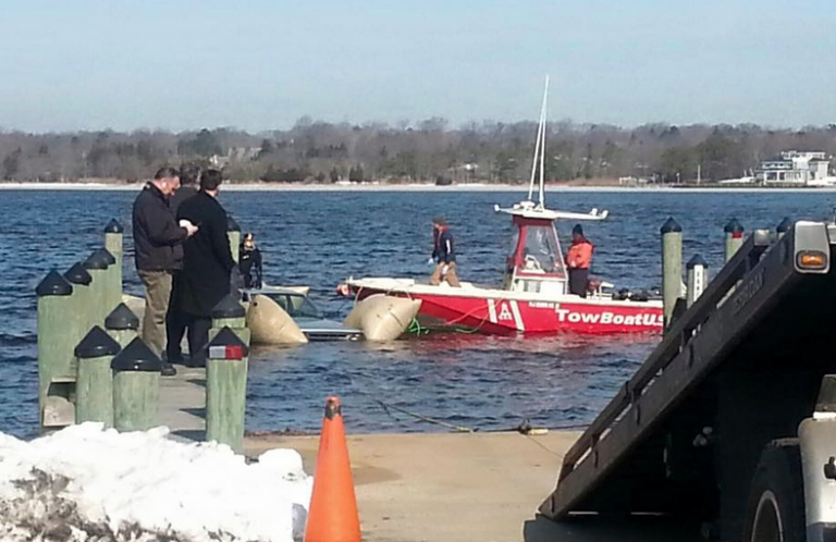 Earlier today, authorities removed the pickup truck that plunged through the ice on the Toms River on March 1. (Photo: Ocean County Sheriff's Office)