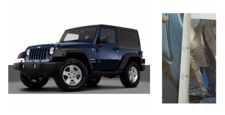 This depicts a blue Jeep Wrangler (left) and contains the actual vehicle part and shows where the piece fits onto the vehicle (right) that authorities say struck and killed a 27-year-old man on Route 37 in Toms River earlier this  month. (Image: Ocean County Prosecutor's Office)