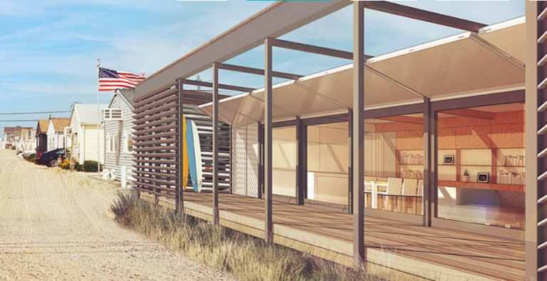 A rendering of the SURE HOUSE depicted within a traditional Jersey Shore bungalow community. (Image courtesy of Stevens Institute of Technology)