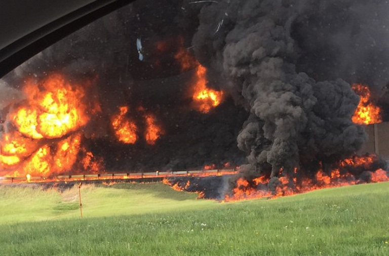 The fire as seen from the New Jersey Turnpike by cornell_hunt via Instagram.