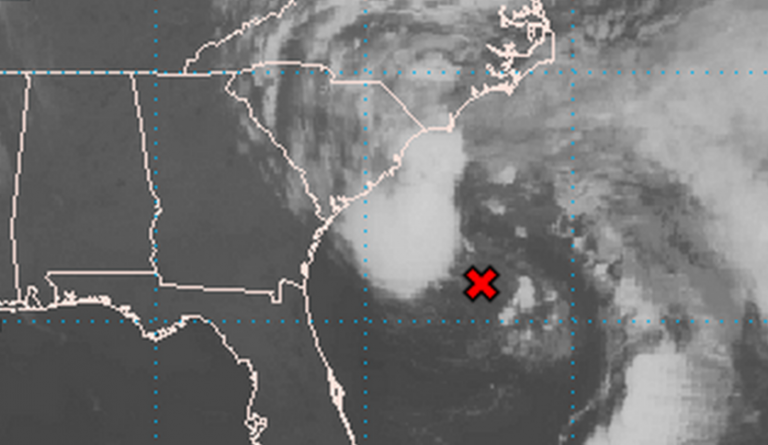 A Thursday morning satellite image of the low pressure system off South Carolina. (Image: National Hurricane Center)