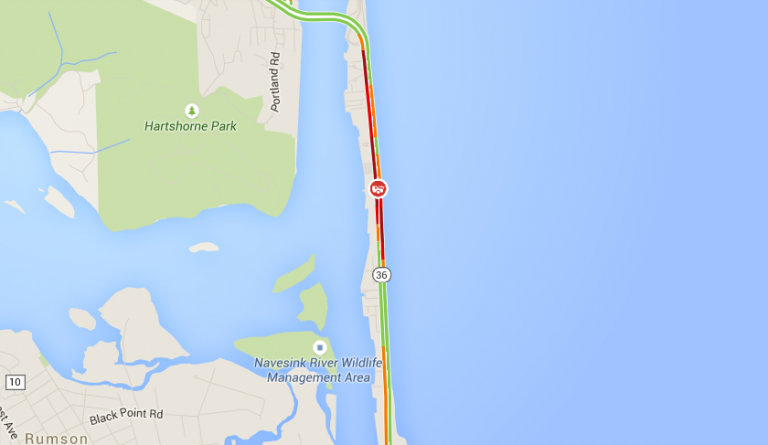 Heavy traffic on Route 36 in Sea Bright at 12:25 p.m. today. (Image: Google Maps)