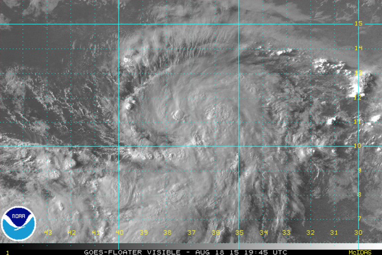 A visible satellite image of the newly formed Tropical Storm Danny taken late this afternoon. (Image: NOAA)