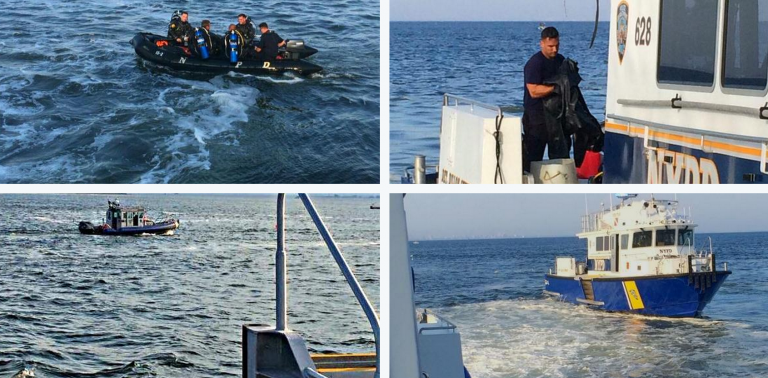 Search teams on the scene of the reported sunken vessel in the Sandy Hook Channel late this afternoon. (Image: NYPD)