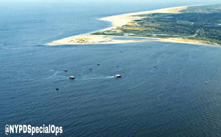A search operation for the missing fishing vessel off Sandy Hook yesterday afternoon. (Photo: NYPD)