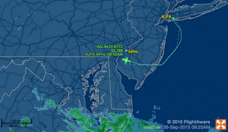 Shepherd One's flight plan. (Image: FlightAware.com)