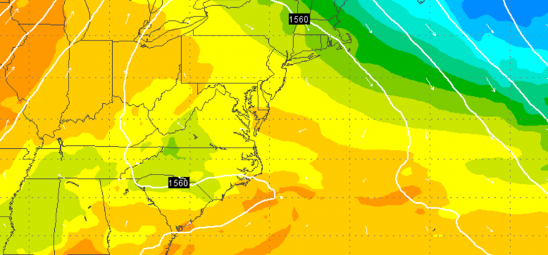EURO model 850 mb temperature output for Wednesday afternoon, indicating warm temperatures across New Jersey. (Image: Weather Underground)