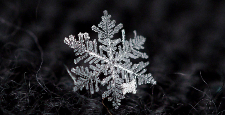 A snowflake as photographed by Robert  Raia.