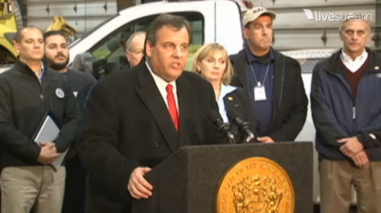 Gov. Christie Christie speaks this evening, declaring a state of emergency.